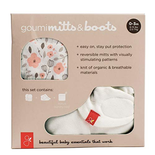 goumikids - Organic Mitts & Booties Bundle, Soft Stay On Scratch Proof Mittens and Adjustable Baby Booties (0-3 Months, Enchanted Garden)