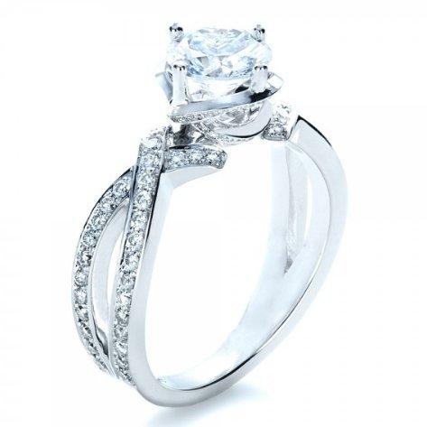 Gowe Brilliant 2ct imitation diamant Bijoux en or massif 9ct or blanc Bague de fiançailles Ascd Anneau fendu pour femme Amour
