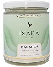 Ixara Wellness Balance - Vela Aromática de Té Verde, Perfecta para Decorar y Aromatizar, Ideal para Obtener un Entorno Relajante - Vela Perfecta para el Hogar
