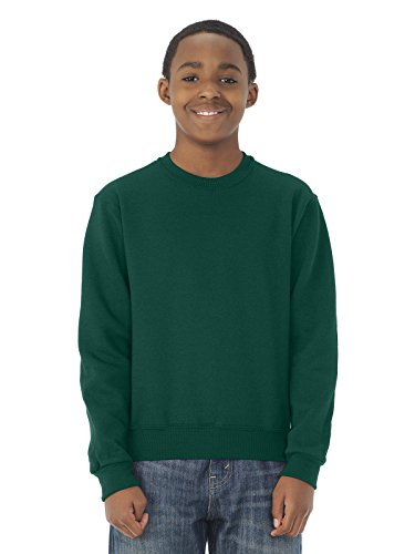 4662B Jerzees Youth Super Sweats Crew Neck Sweatshirt (Forest Green) (L) (Super Crewneck Sweatshirt Sweats)