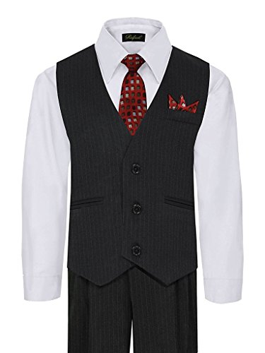 iGirlDress Little Boys' and Special Occasion Pinstripe Vest Set Black/White 3 (Stripe Black Suit Multi)