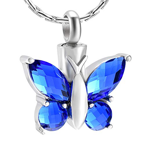 - constantlife Cremation Necklace for Ashes Crystal Stone Butterfly Stainless Steel Cremation Ashes Pendant Urn Necklace Keepsake Urns Urn Necklaces for Ashes for Women with Box+Filling Kits-Dark Blue