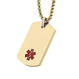 HZMAN Gold Silver Black Stainless Steel Medical Alert Dog Tag Pendant Necklace