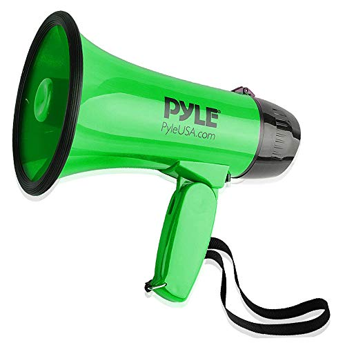 Megaphone Green - Portable Megaphone Speaker Siren Bullhorn - Compact and Battery Operated with 30 Watt Power, Microphone, 2 Modes, PA Sound and Foldable Handle for Cheerleading and Police Use - Pyle PMP32GR (Green)