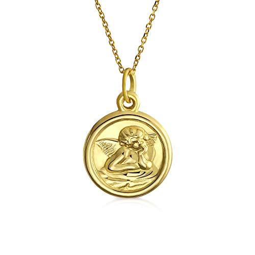 14K Yellow Real Gold Religious Medal Guardian Angel Pendant Necklace For Women For Teen With 14K Gold Chain ()
