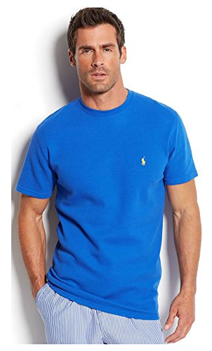 RALPH LAUREN Polo Men's Waffle-Knit Thermal Crew-Neck T-Shirt (Dark Blue, Large)