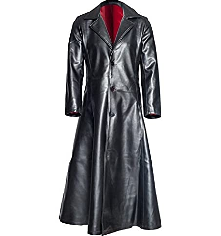 Flesh & Hide F&H Men's Genuine Leather Blade Trinity Wesley Snipes Red  Lining Long Trench Coat