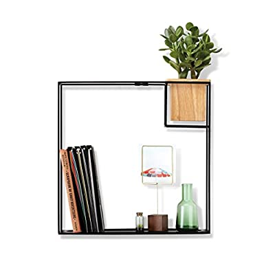 Umbra Cubist Floating Shelf with Built-In Succulent Planter - Modern Wall Décor and Geometric Display Shelf for Books, Candles, Mementos, Photos, Indoor Plants and More! | Large, Black - ATTRACTIVE & FUNCTIONAL FLOATING SHELF: Cubist is a unique floating shelf from Umbra that will add a modern decorative touch to your home or office décor while at the same time providing you with functional shelving and storage INCLUDES A VERSATILE BEECH WOOD CONTAINER / PLANTER: Use the built-in container to store a variety of items or add a touch of greenery to your décor by using it as an indoor planter for succulents, cactus, air plants, and faux plants ROOM DÉCOR FOR WALL, FLOOR & MORE: Cubist can be displayed on your wall, floor, desk, table or other piece of furniture; use your Cubist to add a modern decorative touch to your office, entryway, bedroom, kitchen or any other indoor living space - wall-shelves, living-room-furniture, living-room - 41oxGsoxrtL. SS400  -