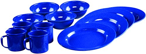 - Coleman 12-Piece Enamel Dinnerware Set, Blue