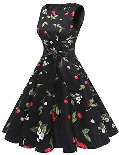 Black Cherry Vestito Annata Maniche Swing Rockabilly Abito Cocktail Da Retrò Small Senza Partito Audery Gardenwed Polka 1950 X1qaww6