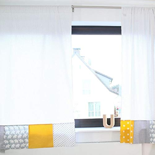 100% Cotton Nursery Curtains durch Ullenboom | Elephant/Stars/Checkered | Baby Room Drapes | 110 X 84 - Unisex Yellow/Grey