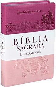 Bíblia Sagrada Letra Gigante - Capa Couro sintético Triotone Pink: Almeida Revista e Atualizada (ARA)