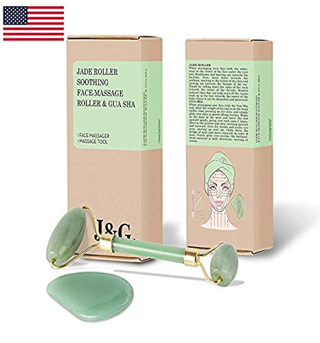 (Jade Roller for Face with Gua Sha Stone (2 pc. Set) Natural Slimming and Firming Anti-Aging Facial Massager and Collagen Booster 100% Real Natural Jade Facial Roller | Stimulate Blood Circulation)