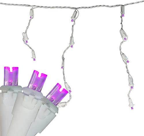 70 Purple LED Wide Angle Icicle Christmas Lights – 5.25 ft White Wire