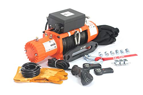 Ac 12v Electric Winches - AC-DK 12V DC 13500 lb Synthetic Rope Electric Winch - Recovery Winch - Off Road Winch - 4x4 Winch - with Winch dust Cover and 2 Wireless remotes
