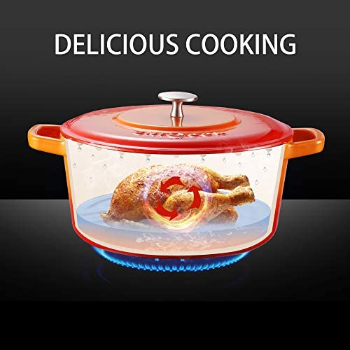UNICOOK Enameled Cast Iron Dutch Oven 5-Quart, Heat Retention Casserole Dutch Pot with Self Basting Lid, Perfect for Baking, Braising, Roasting and Slow Cooked Meals, Flame