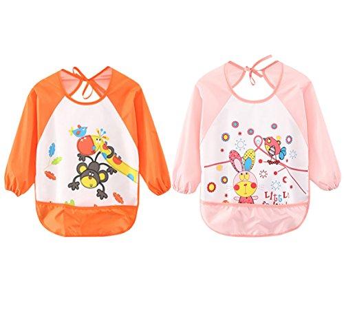 Full Smock - Leyaron 2 Pack Unisex Infant Toddler Baby Waterproof Sleeved Bib, 6 Months-3 Years, Orange Monkey and Pink Rabbit