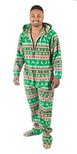 Forever Lazy Footed Adult Onesie - Reindeer Games - -