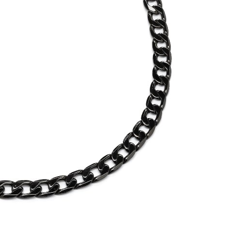 PalmBeach Jewelry Men's Black Rhodium-Plated Curb-Link 12 mm Necklace Chain 24""