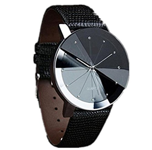 ABASSKY Men's Sport Military Stainless Steel Dial Leather Wrist Watch
