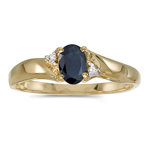 0.39 Carat (ctw) 14k Yellow Gold Oval Blue Sapphire and Diamond Bypass Swirl Engagement Anniversary Fashion Ring (6 x 4 MM) - Size 6 14k Yellow Gold Mount