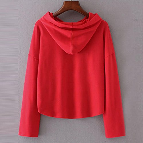 Rouge Longues Tops Femmes Sweatshirt Chemisier Manches Capuche Angelof Femme À Sweat Pull aZxzZnwv