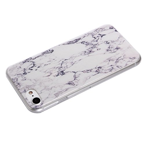 """Coque Cover iPhone 7, IJIA Ultra-mince Marbre Blanc TPU Doux Silicone Bumper Case Cover Coque Housse Etui pour Apple iPhone 7 (4.7"""") + 24K Or Autocollant"""