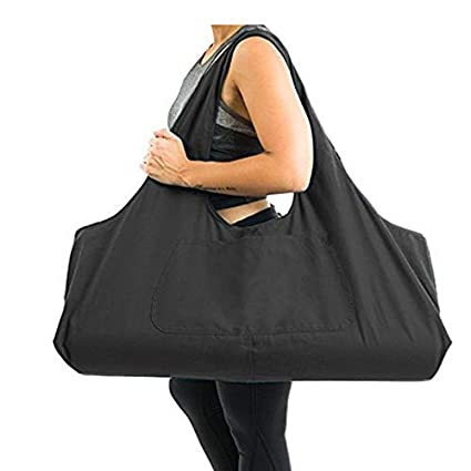 Aolvo Large Yoga Mat Bag, Yoga Mat Holder with Yoga Carrier Strap,Cotton Canvas Tote Bag, 2 Extra Pockets Fits for 2 Yoga Mat, 2 Towel,Key(Black)
