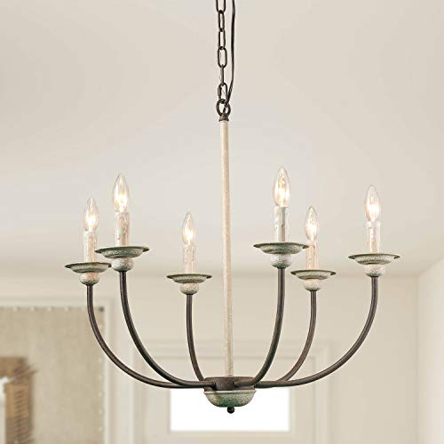 Log Barn 6 Farmhouse Chandelier, Kitchen Island Pendant Antique White and Rusty Metal Finish, 26