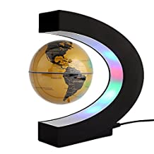 Floating Globe Rotating World Map Earth Planet Ball with C Shaped Magnetic Levitation LED Display Platform Stand - Educational Gifts for Kids, Office Desk Decoration Ornament (Golden)