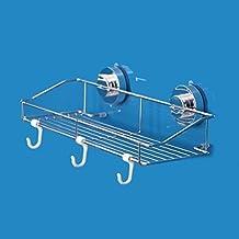 Stainless Steel Kitchen & Bathroom Suction Sink Center Storage Suction Basket Holder Organizer Shower Pole Caddy with Three Hooks Stick on Tough Surface Bath Rack (350*85*180mm)