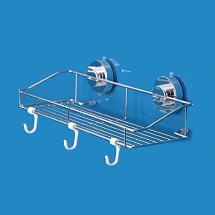 Stainless Steel Kitchen & Bathroom Suction Sink Center Storage Suction Basket Holder Organizer Shower Pole Caddy with Three Hooks Stick on Tough Surface Bath Rack (35085180mm) by Bescar