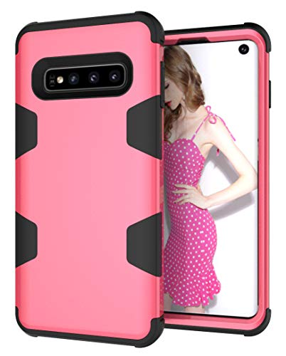 Galaxy S10 Case, ZERMU Heavy Duty Shockproof Protection Hard Plastic+Silicone Armor Defender High Impact Rugged Bumper Full-Body Protective Anti-Scratch Case for Samsung Galaxy S10 6.1