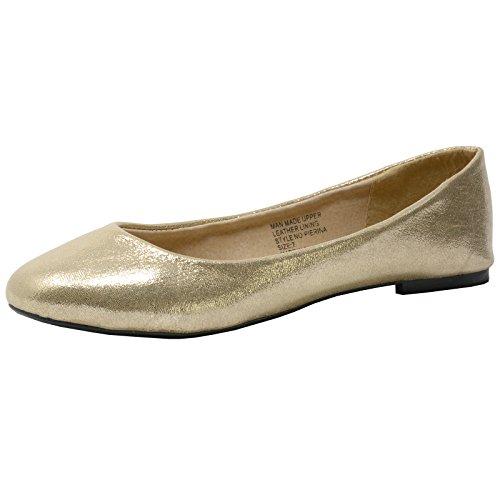 alpine swiss Women's Pierina Ballet Flats Gold
