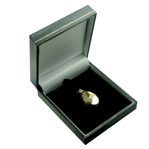 Médaillon 22x15mm oval en or Jaune 375/1000 à demi gravée à la main