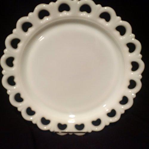 "Milk Glass Cake Plate, White Milk Glass Colony Cake Plate, Open Heart Milk Glass Lace Edge Platter 13"""