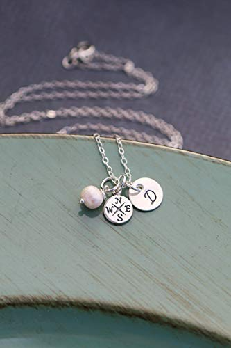 Compass Charm Necklace - ROI - Sterling Silver Graduation Gift - Personalized Initial - 3/8 Inch Disc - Handstamped Bridesmaid Present - 1 Day Ship