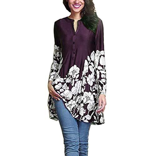 Clearance Women Tops❤️COPPEN Women Women Plus Size Floral Print V-Neck Fashion Long Sleeve Button Long (Elbow Monogram)
