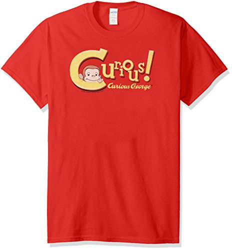 Trevco Men's Curious George Short Sleeve T-Shirt, Red, Small -