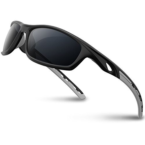 RIVBOS Polarized Sports Sunglasses Driving Sun Glasses Shades for Men Women Tr 90 Unbreakable Frame for Cycling Baseball Running Rb833 833-black& ()