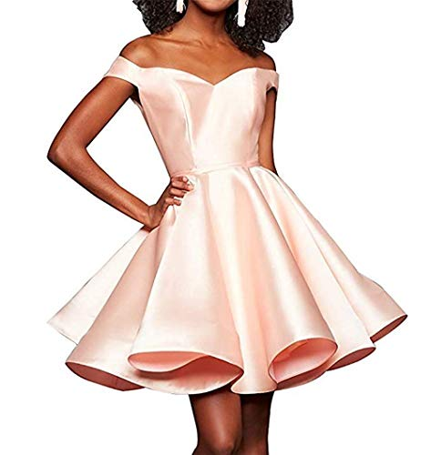 2004 Prom Dress - Zaozc Women's Off Shoulder Lace up Short Homecoming Dresses 2004 Swing Train Prom Cocktail Gown Peach
