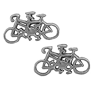 Sterling Silber Tandem-Fahrrad-Ohrring-Charme-Anhänger, Mini-Ohrringe-SE,...