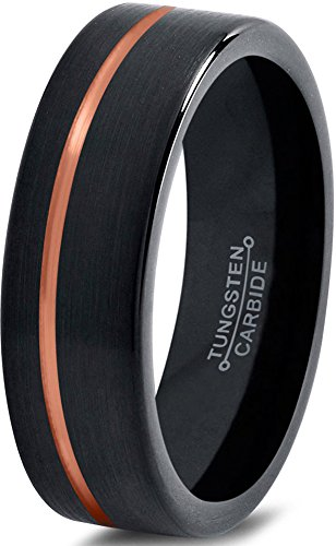 Tungsten Wedding Band Ring 4mm for Men Women Black & (Off Gold Plated)