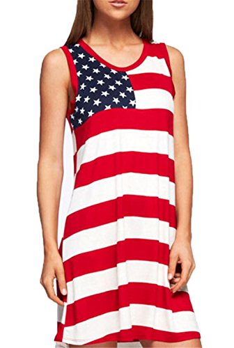 MNLYBABY Women Sleeveless American USA Flag Dress Stars Stripes Print Casual Loose Sundress Size M (Red)
