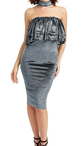 Grey Ruffled Solid Dress Coolred Bodycon Halter Strapless Tunic Women Top xgX4qwfIz