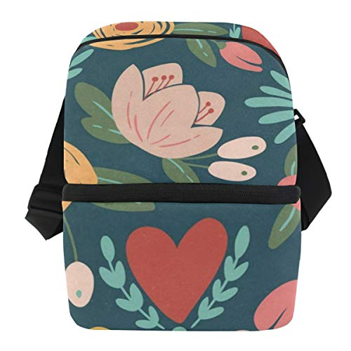 Lunch Bag Cute Floral Pattern Portable Cooler Bag Adult Leakproof refrigerator Organizer Zipper Tote Bags for Party