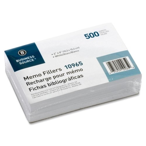 "UPC 035255109659, Wholesale CASE of 20 - Bus. Source Unruled Memo Filler Sheets-Memo Paper, Plain, 4""x6"", 500Shts/PK, White"