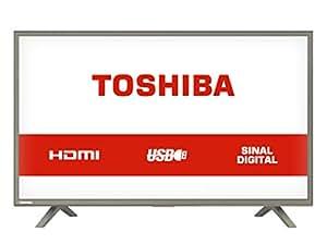 """TV LED 32"""" HD com 3 entradas HDMI e 1 USB, Toshiba 32L1800, Grafite"""
