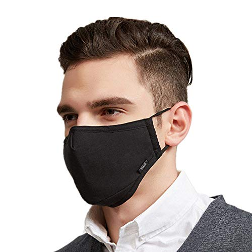 Yamde Dust Mask Can Be Washed Reusable N95 Face Mask Activated Carbon Filtration Multi-Layer Protection from Exhaust Gas Anti Pollen Allergy One Size Multiple Colors (black)