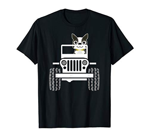 Funny Boston Terrier Dog Jeep Dad / Dog Jeep Mom T-shirt